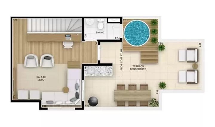 Cobertura duplex superior 114,79m² - perspectiva ilustrada