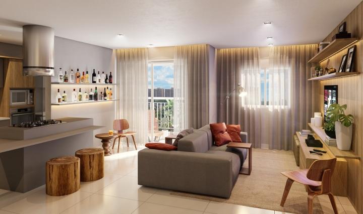 Sala de apartamento decorado do High Redentora Divulgação RNI