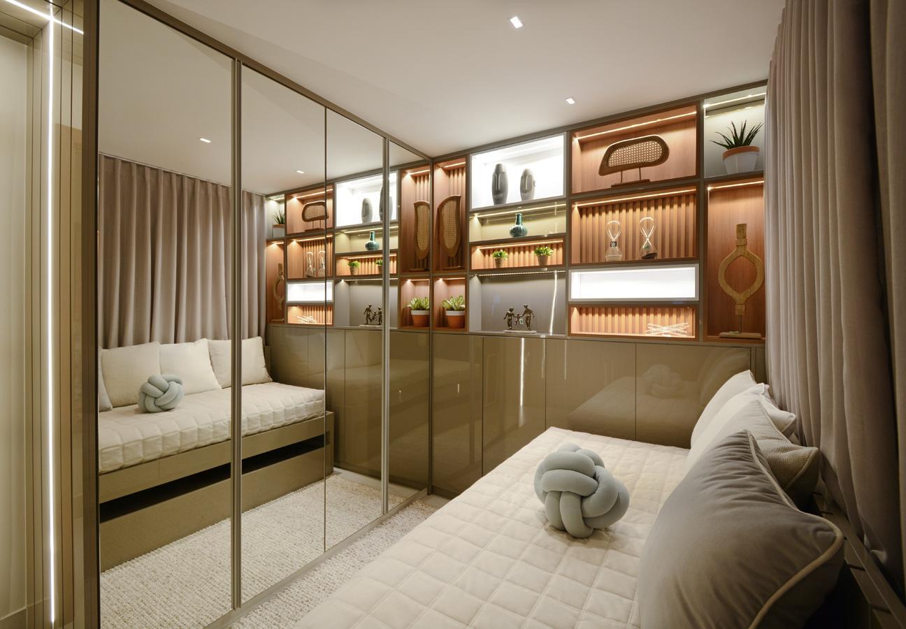 O arquiteto e designer de interiores William Hanna usou a madeira em nichos em um dos quartos - Marcus Camargo